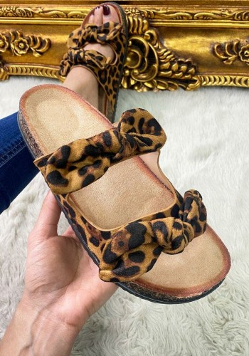 Beth Leopard Faux Suede Bow Strappy Sliders