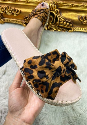 Verity Leopard Bow Faux Suede Sliders