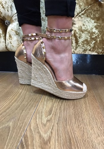Veronica metallic studded espadrille wedge