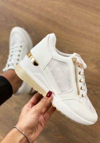 Nadine White Faux Leather Zip Hidden Wedge Trainers