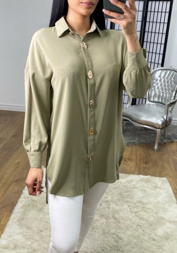 Anna Oversized Silky Gold Button Detail Blouse