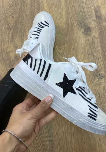 Katie White Croc Zebra Star Printed Faux Leather Trainers