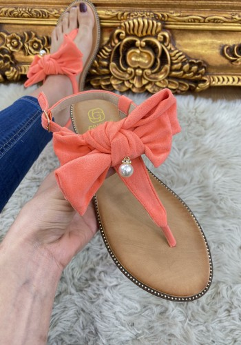 Lenny Faux Suede Bows Pearl Studded Detail Sandals