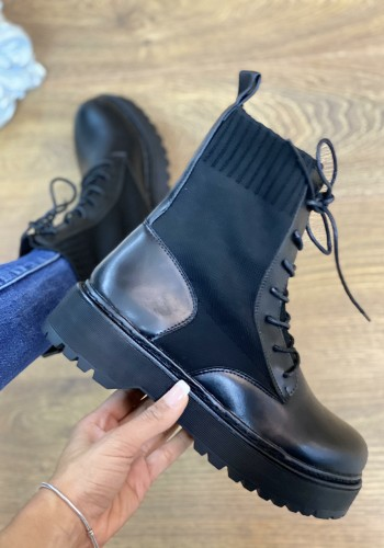 Kyler Black Faux Leather Sock Detail Biker Boots
