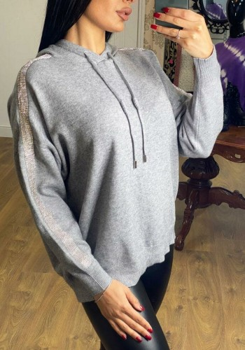 Berrie Knitted Diamante Arm Hooded Jumper