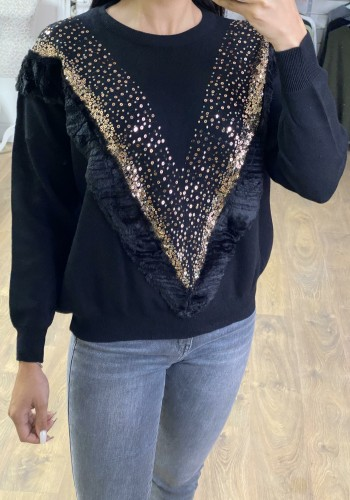 Tammina Faux Fur Sequin V-panel Loose Fit Knitted Jumper
