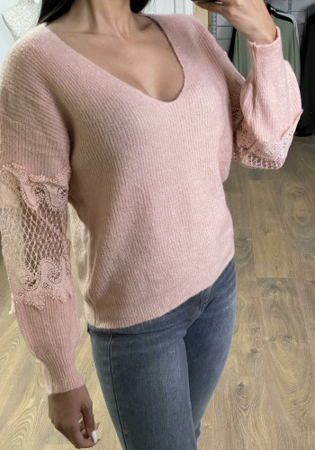 Cathleen Super Soft Ribbed Lace Sleeve Detail Knitted Jumper