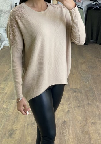 Dex Diamante Shoulder Ribbed Batwing Jumper