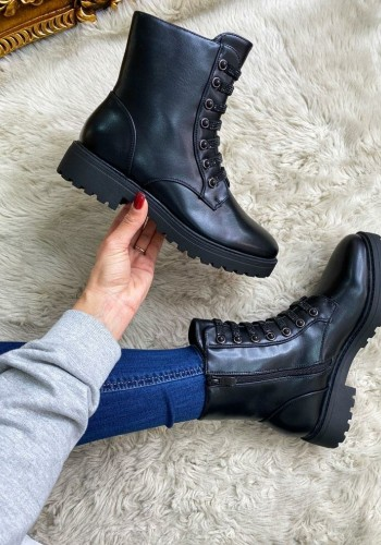 Matayo Black Studded Faux Leather Biker Boots