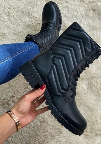 Beverly Black Faux Leather Padded Lace Up Biker Boots
