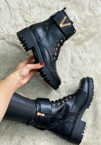Pamela Black Chunky Faux Leather Lace Up Strappy Biker Boots