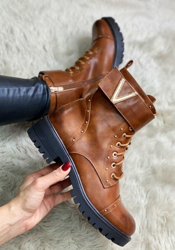Pamela Tan Chunky Faux Leather Lace Up Strappy Biker Boots