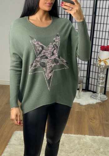 Robin Animal Diamanté Star Batwing Ribbed Jumper