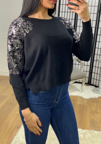 Gemmy Sequin Shoulder Detail Loose Fit Knit Jumper