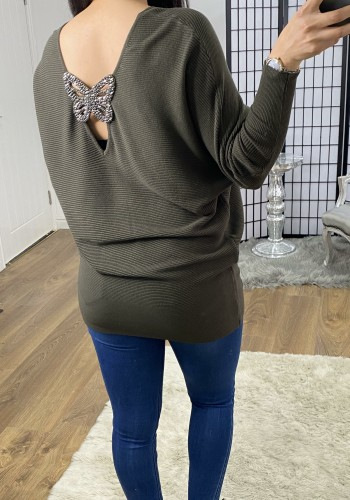 Canada Diamante Butterfly Back Detail Batwing Knit Jumper