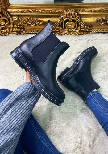 Valma Black Faux Leather Diamante Trim Chelsea Boots
