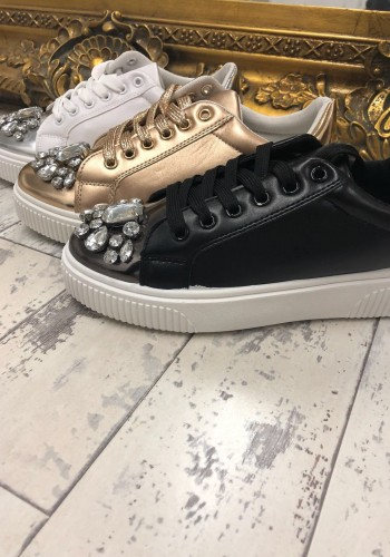 Lulu Crystal Metallic Trainers