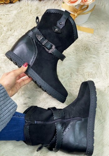Shae Faux Suede Buckle Detailed Hidden Wedge Boots