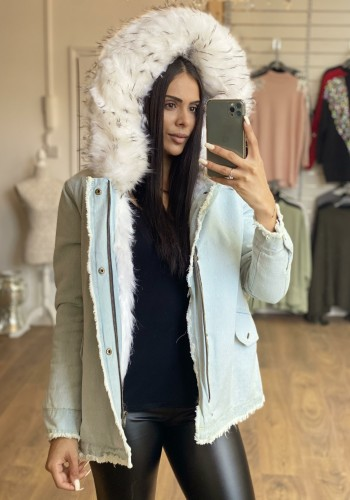 Drew Light Denim White Faux Fur Coat