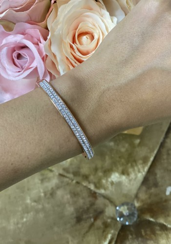 Rozaline Double Row Diamante Detailed Bangle