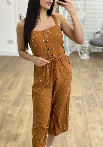 Calico Polka Dot Button Jumpsuit