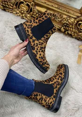 Stacy Leopard Faux Suede Diamante Ankle Boots