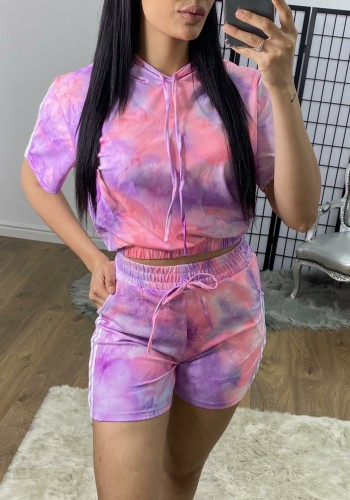 Dixy Tie Dye Hooded Cropped Two Piece Set