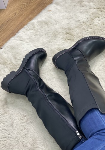 Anusha Black Faux Leather Scuba Diamanté Knee Boots