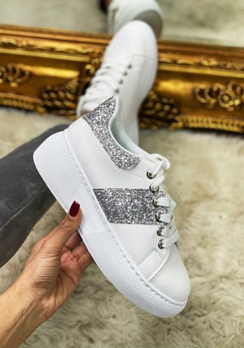 Silo Silver Glitter Detailed Chunky White Trainers