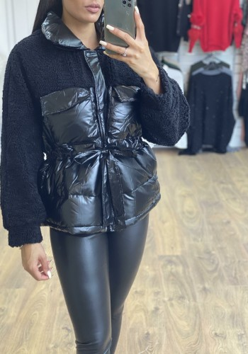 Mitzy Oversized Faux Leather Teddy Tie Waist Puffer Jacket