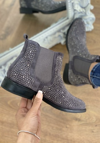 Roya Diamante Detailed Faux Suede Chelsea Boots