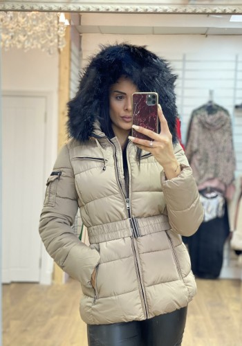 Lucy Stone Padded Faux Fur Hood Coat