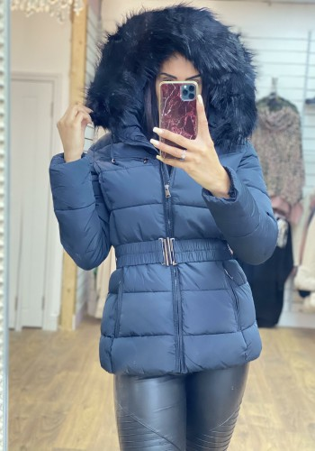 Lucy Navy Padded Faux Fur Hooded Coat