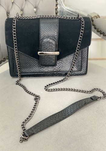 Melly Faux Leather Croc Print Chain Cross Body Bag