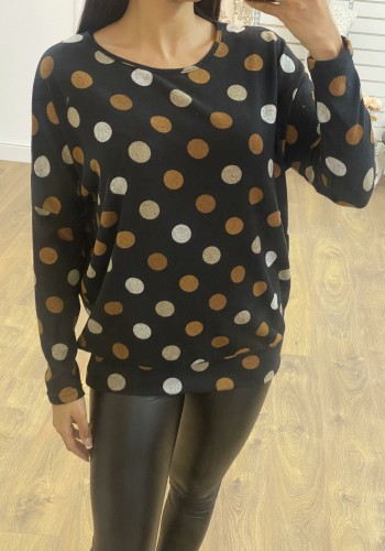 Mikah Black Polka Dot Thin Knit Top