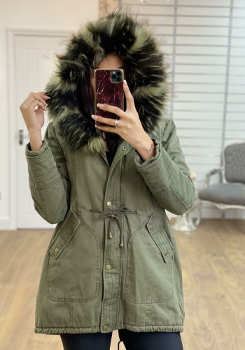 Peppa Khaki Speckled Faux Fur Hooded Parka Coat