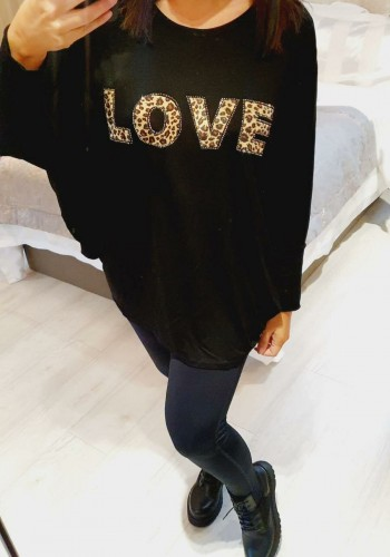 Nasha  Oversized Leopard Studded LOVE Slogan Batwing Thin Top