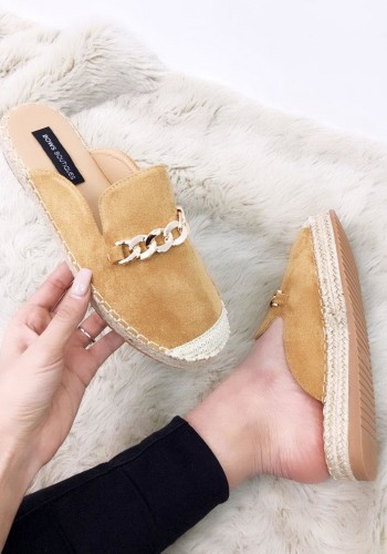 Janae Faux Suede Gold Buckle Slip On Espadrille