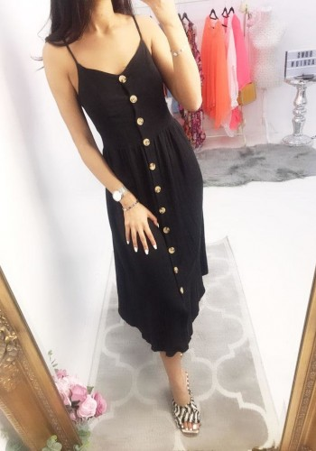 Jennica Buttoned Strappy Midi Dress