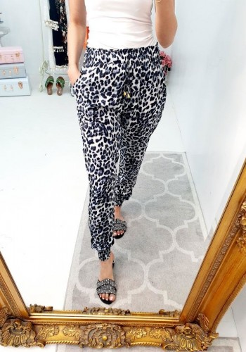 Jenso Loose Fit Leopard Print Elasticated Cuff Hareem Trousers