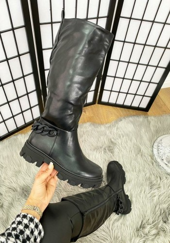 Jetsy Black Faux Leather Calf Chain Detailed Biker Boots