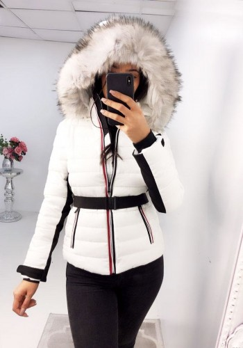 Jilly White Lightweight Padded Faux Fur Striped Hooded Coat