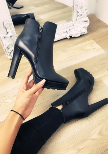 Jorgie Black Faux Leather Zip Detail Heel Boots