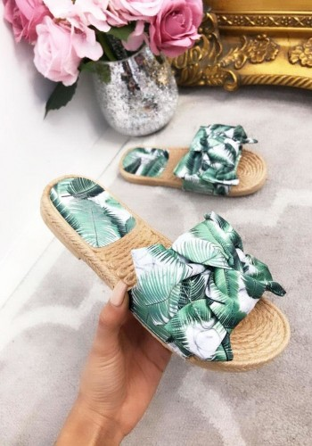 Journee Green Leaf Print Bow Sliders