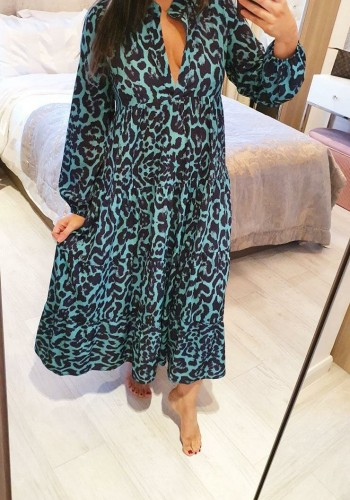 Jude Leopard Print Green And Navy Tiered Maxi Smock Dress