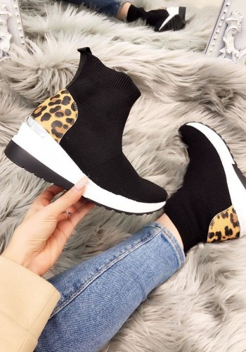 Justine Leopard Hidden Wedge Sock Trainers