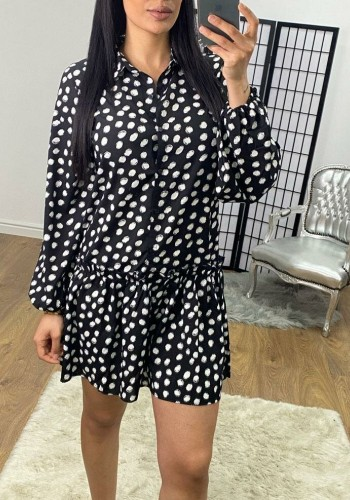 Kalid Black And White Polka Dot Frill Hem Shirt Dress