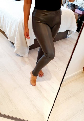 Keats Grey Faux Leather Look Fitted Leggings