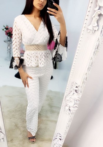 Kelini Crochet Bell Sleeve Detailed Flared Trouser Co-ord Set
