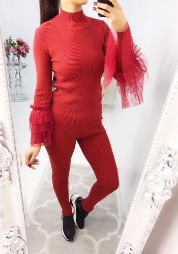 Kelsey Mesh Bell Sleeve Ribbed Knitted Loungewear Set